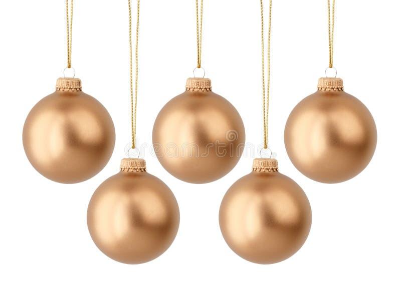 Goldweihnachtskugeln stockfotos