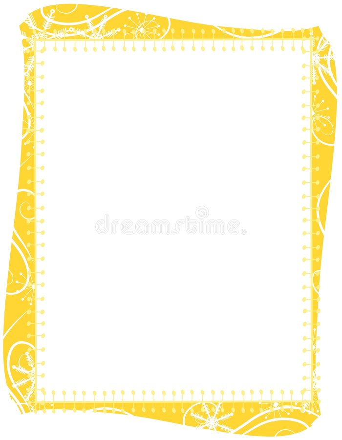 Goldweihnachtsschneeflocke-Rand lizenzfreie abbildung
