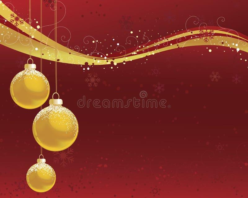 Goldweihnachtsverzierungen auf Rot lizenzfreie abbildung