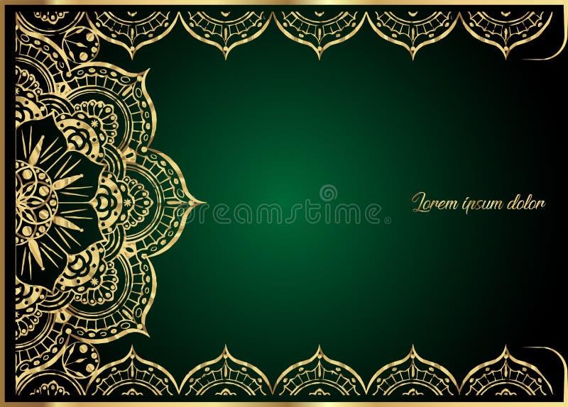 Goldweinlese-Grußkarte auf grünem Hintergrund Luxusverzierungsschablone Groß für Einladung, Flieger, Menü, Broschüre stock abbildung