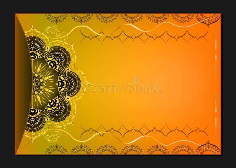 Goldweinlese-Grußkarte auf orange Hintergrund Luxusverzierungsschablone Groß für Einladung, Flieger, Menü, Broschüre lizenzfreie abbildung
