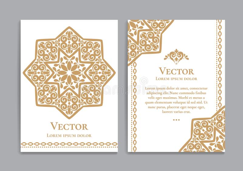 Goldweinlese-Grußkarte mit arabischem Stern lizenzfreie abbildung