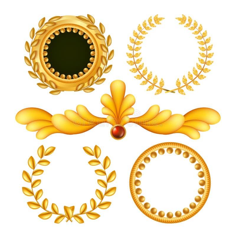 Goldweinlese-königlicher Element-Vektor Antiker Rahmen, königliches Barock Lokalisierte realistische Illustration lizenzfreie abbildung