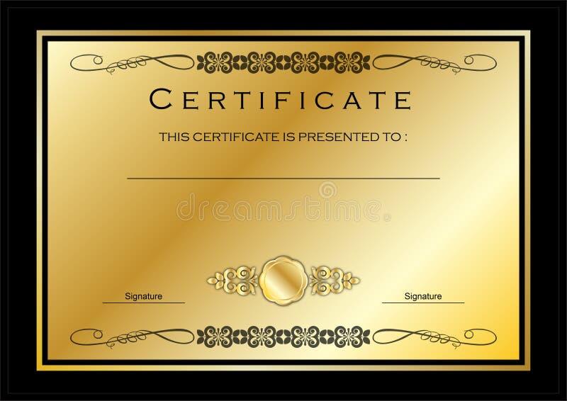 Goldzertifikat/Diplom-Preis-Schablone stock abbildung
