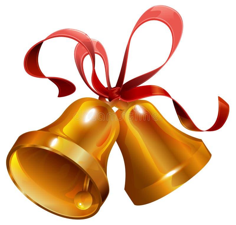 Goldzwei weihnachtsklingelglocke mit rotem Band stock abbildung