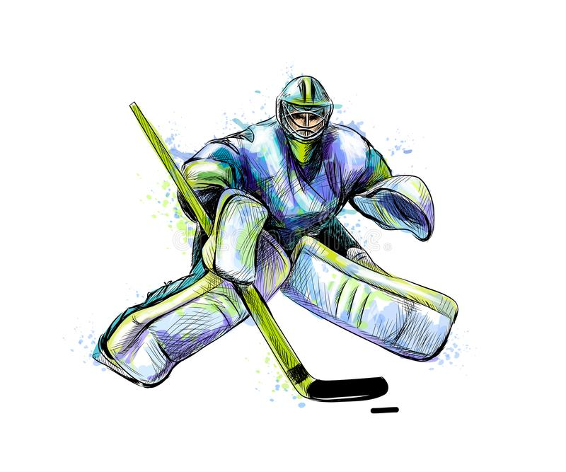 Goleiros abstrato do hóquei do respingo das aquarelas Esboço desenhado mão Esporte de inverno ilustração royalty free