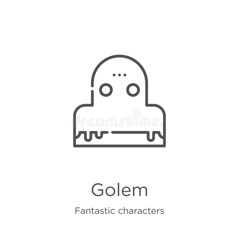 golem διάνυσμα εικονιδίων από τη φανταστική συλλογή χαρακτήρων Η λεπτή γραμμή golem περιγράφει τη διανυσματική απεικόνιση εικονιδ ελεύθερη απεικόνιση δικαιώματος