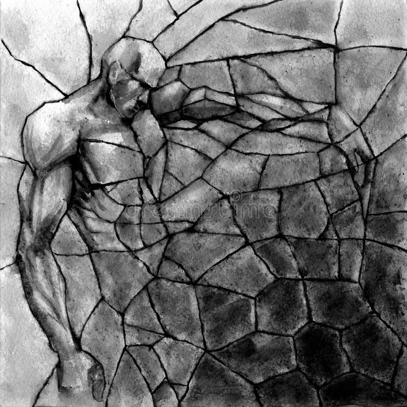 Golem birth. Stone titan rebirth. Abstract. Square composition. Black watercolor vector illustration