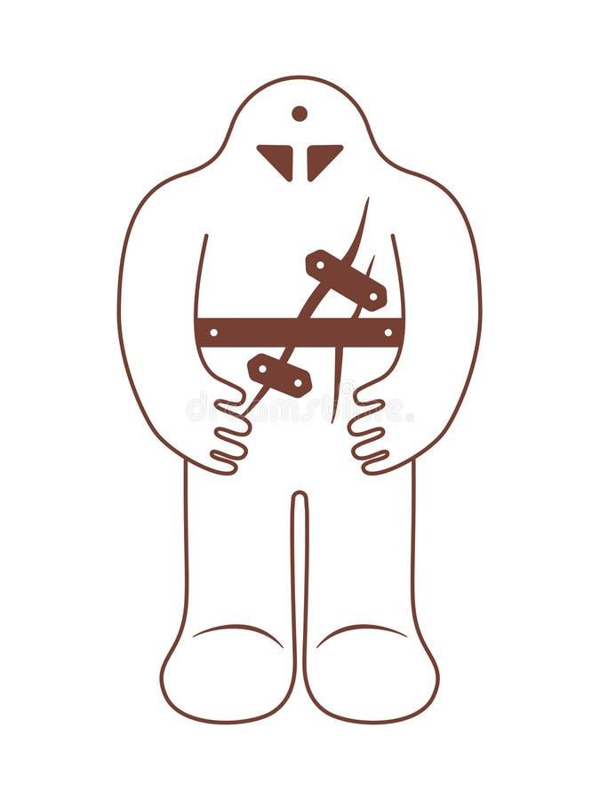 Golem judaico Legenda medieval de Praga Monstro da argila ilustração do vetor