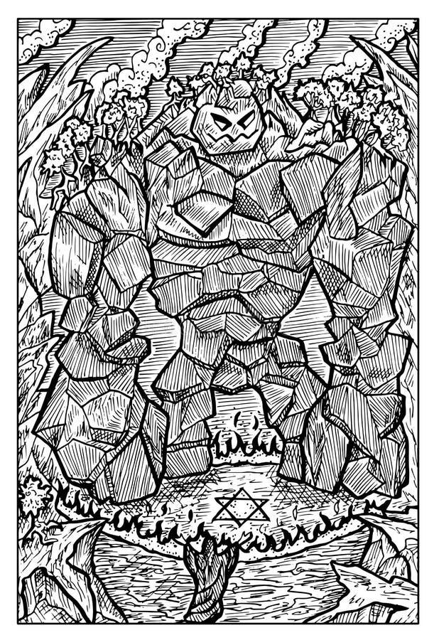 Golem, monstro de pedra, e mágico ilustração royalty free
