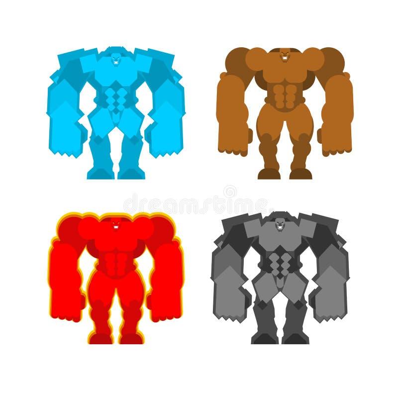 Golemreeks Modder en Ijs Steen in brand Vier krachten Fantastisch Magisch Groot Monster stock illustratie