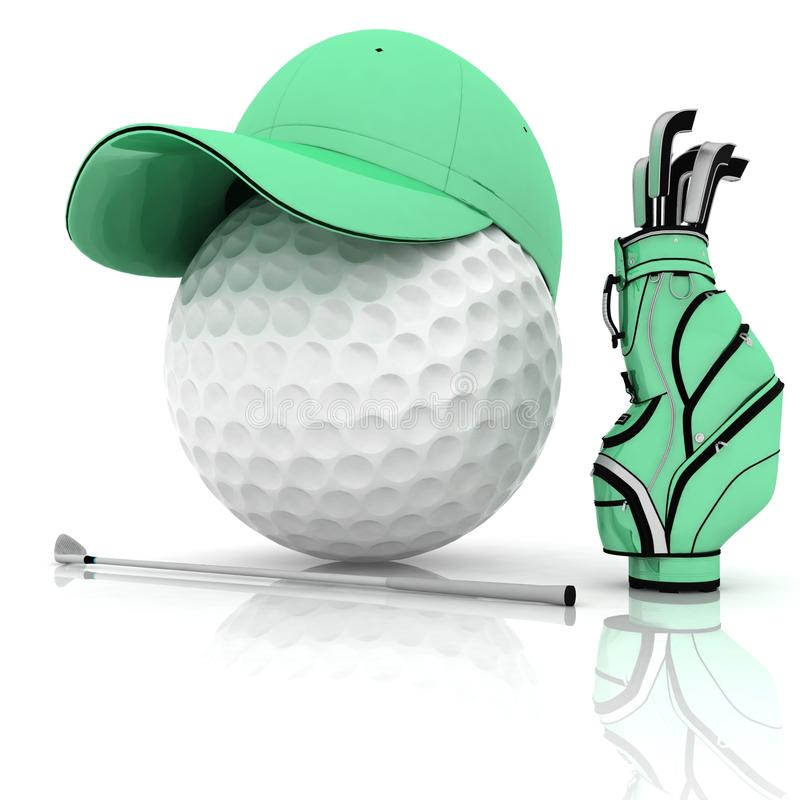 Golf. Belonging for playing golf on a white background stock illustration