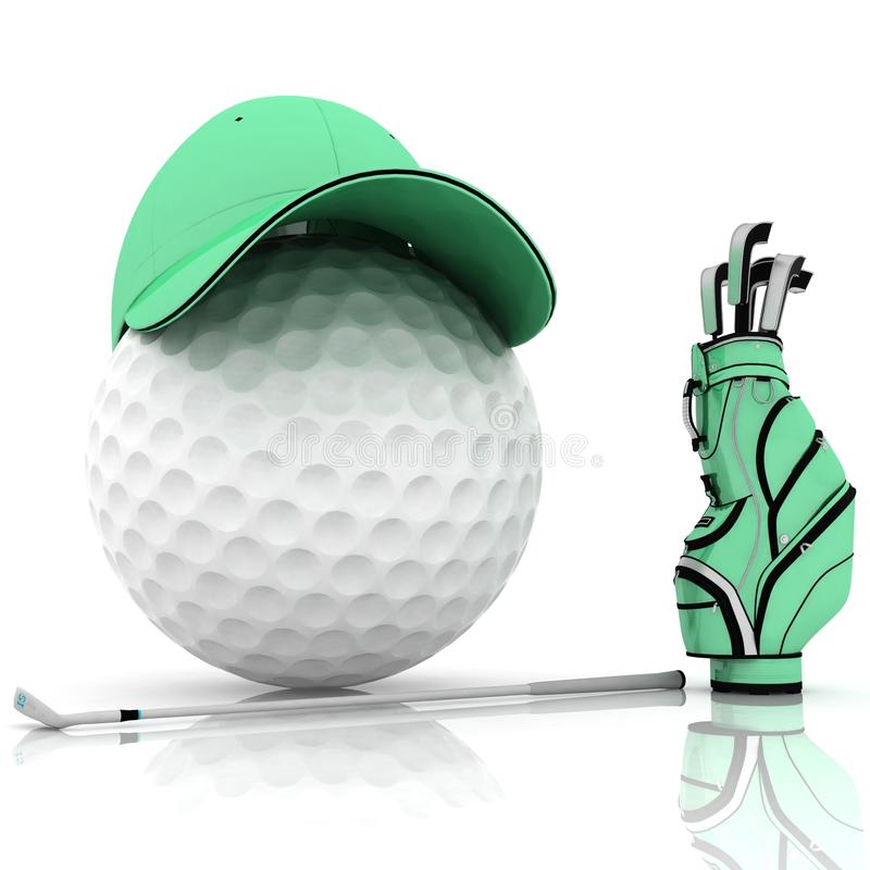 Golf. Belonging for playing golf on a white background vector illustration