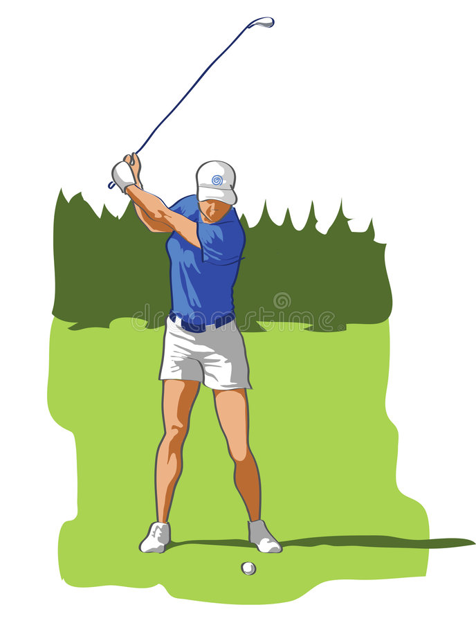 Golf. Illustration of girl playing golf