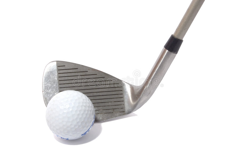 Golf. Ball and  club stock image