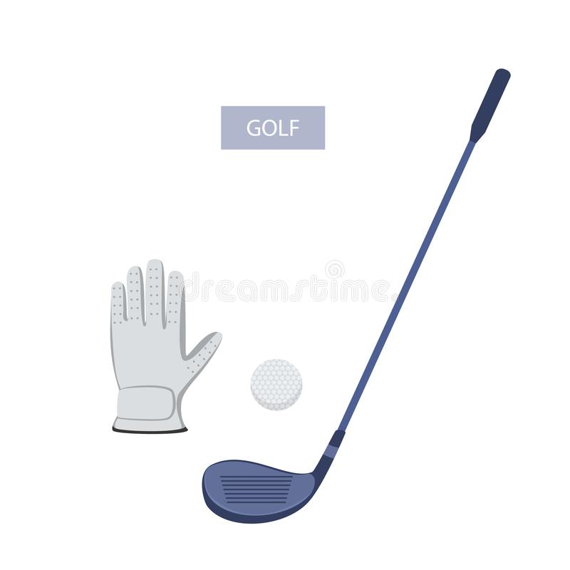 Golf accessories glove club and ball. Isolated vector graphic stock illustration