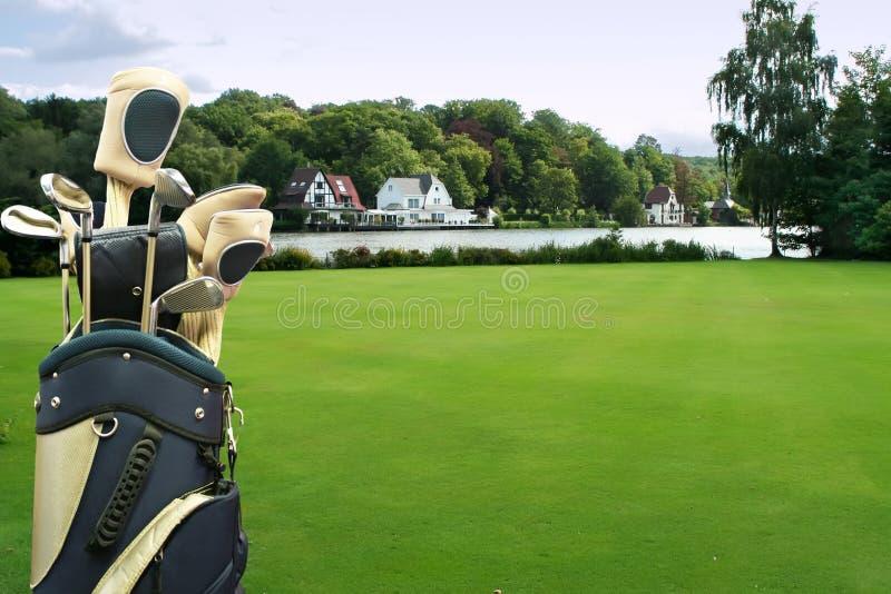 Golf accessory. Golf field in luxury village stock image