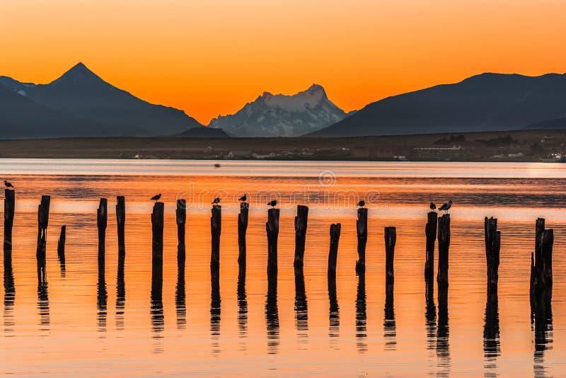 Golf Almirante Montt, Puerto Natales, Chili royalty-vrije stock afbeelding