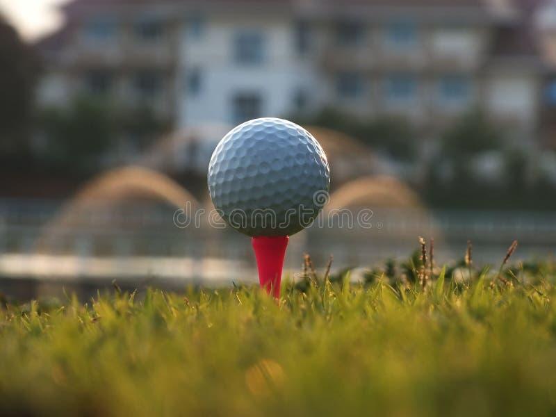 Golf auf dem roten T-St?ck im gr?nen Rasen lizenzfreie stockbilder