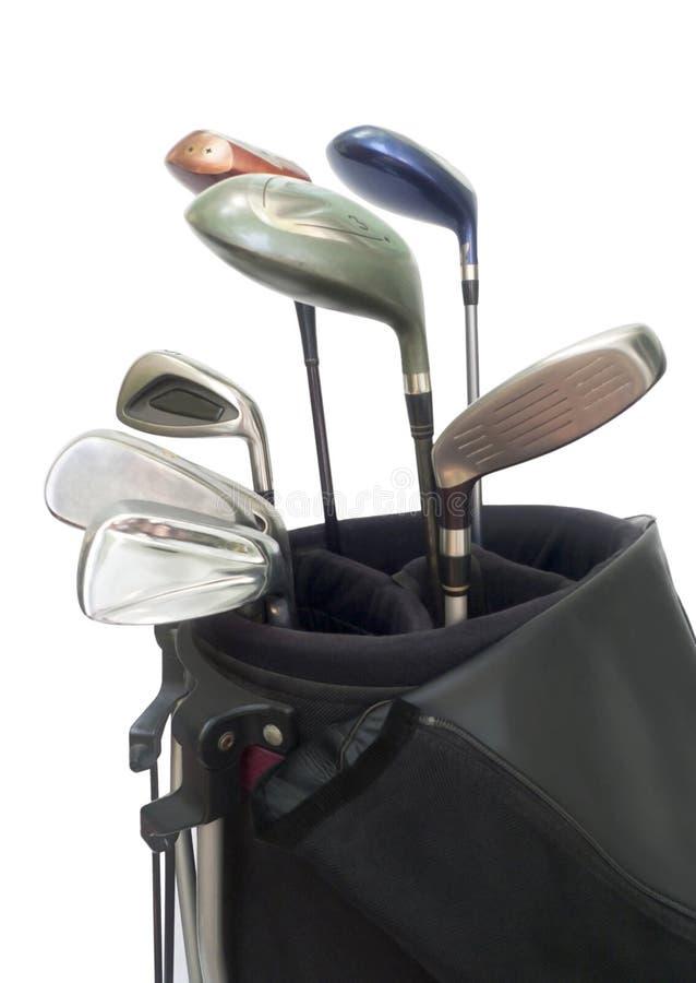 Golf-Ausrüstungen in der Tasche. stockbild