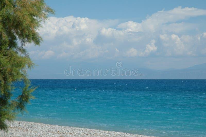 Golf av Corinth på Kiato, Grekland fotografering för bildbyråer