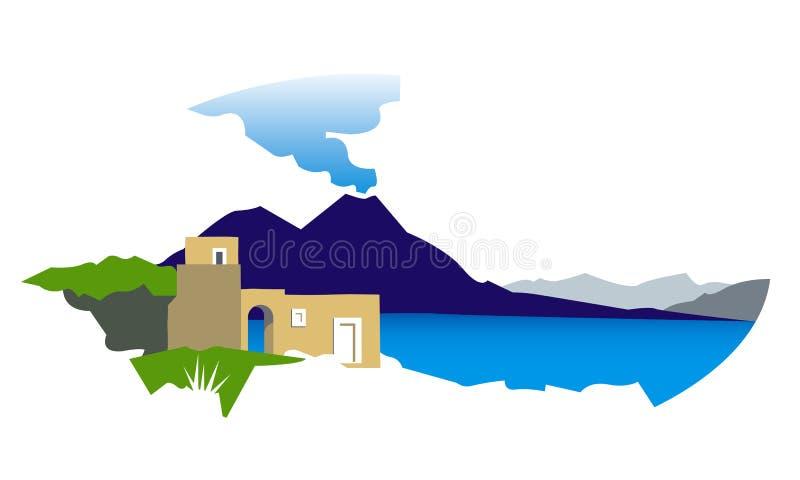 Golf av Naples med den Vesuvius illustrationen stock illustrationer