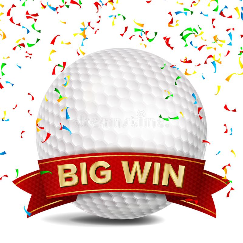 Golf Award Vector. Red Ribbon. Big Sport Game Win Banner Background. White Ball. Confetti Falling. Realistic Isolated stock illustration