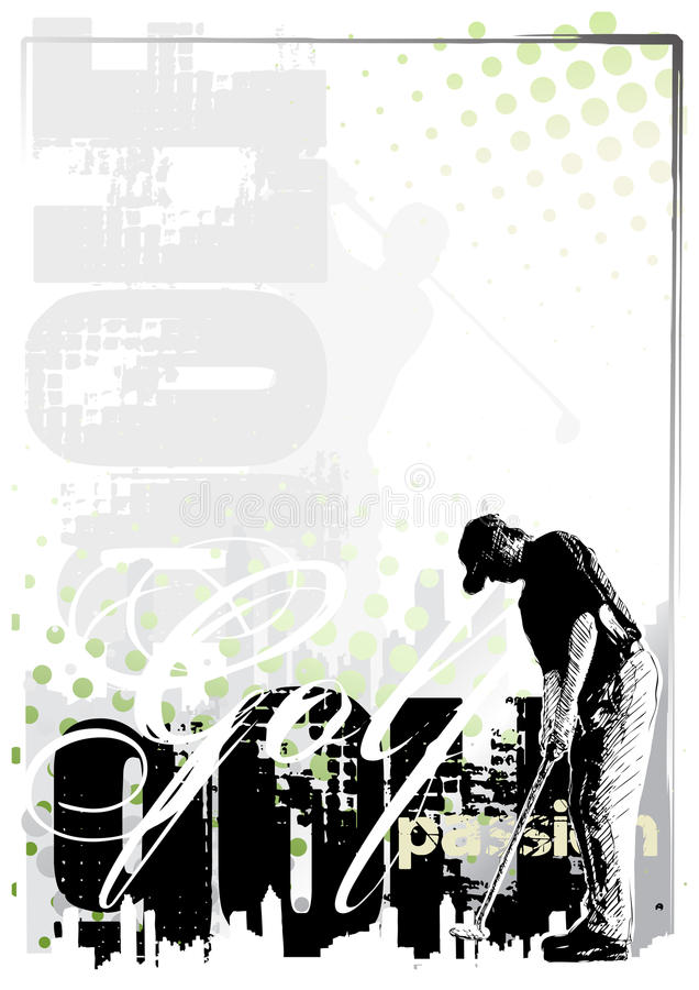 Golf background 2. Vertical golf poster background in the s stock illustration