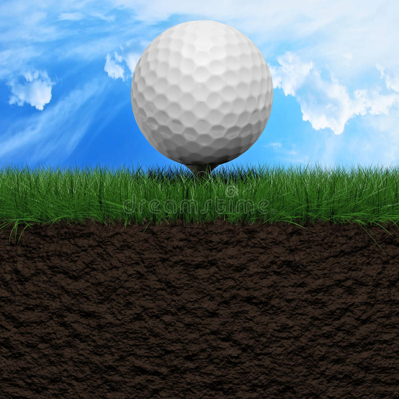 Golf background. Golf ball on a green grass field 3d illustration stock illustration