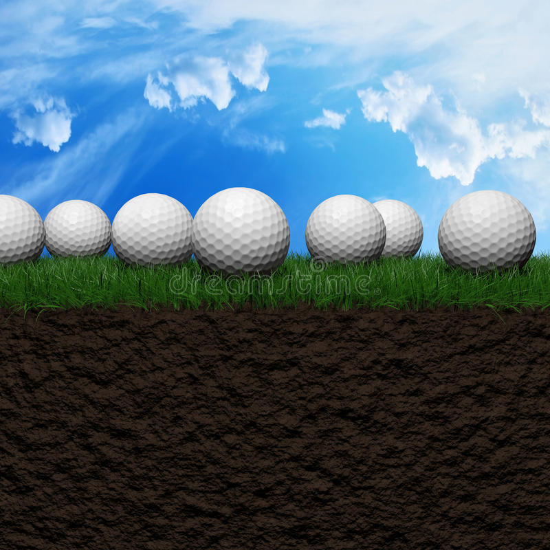 Golf background. Golf balls on a green grass field 3d illustration royalty free illustration