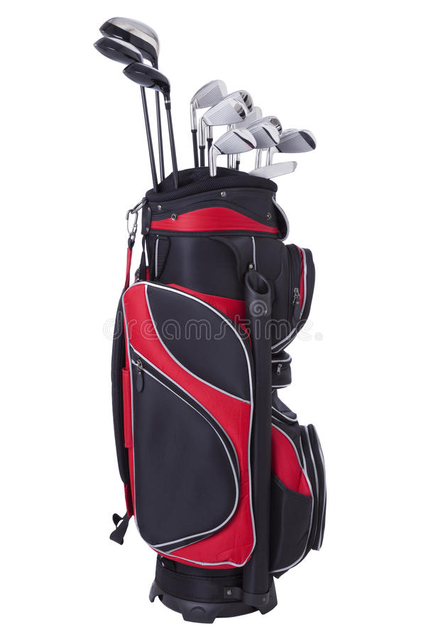 Free Golf Bag And Clubs Isolated On White Background Stock Photography - 26439212