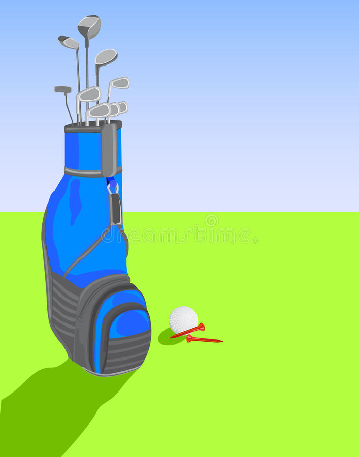 Golf bag with clubs and ball stock illustration