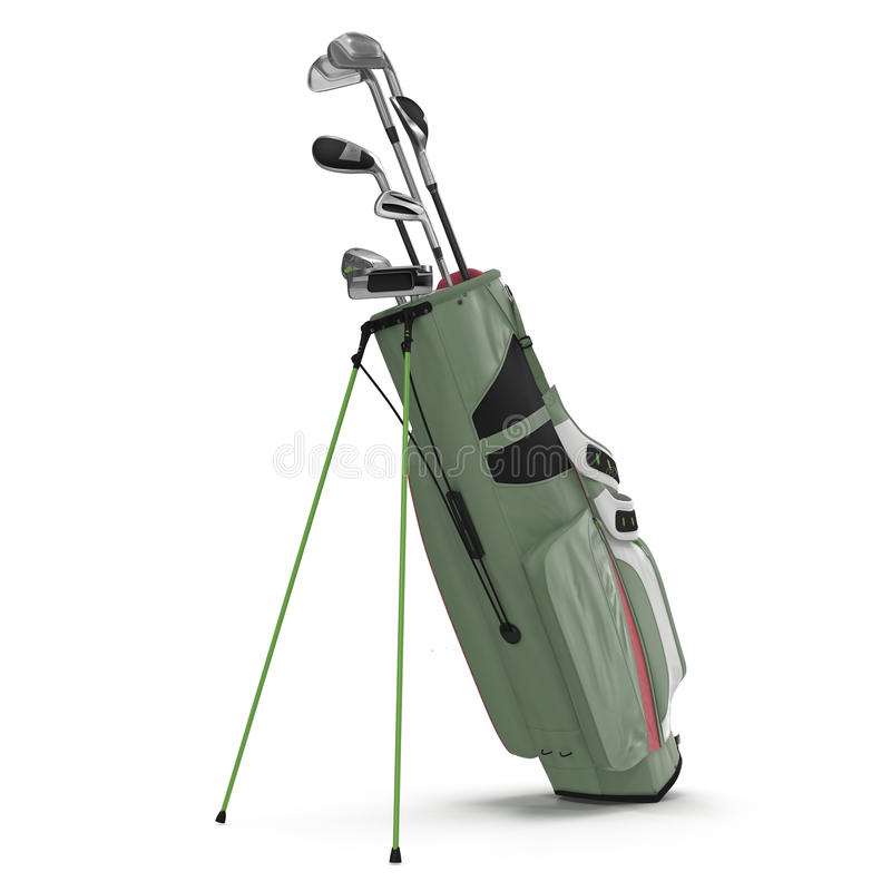 Golf Bag with Clubs on white. 3D illustration stock illustration