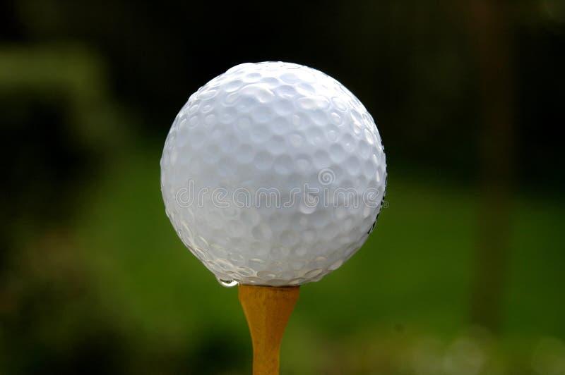 Golf - Bal op geel T-stuk stock afbeeldingen