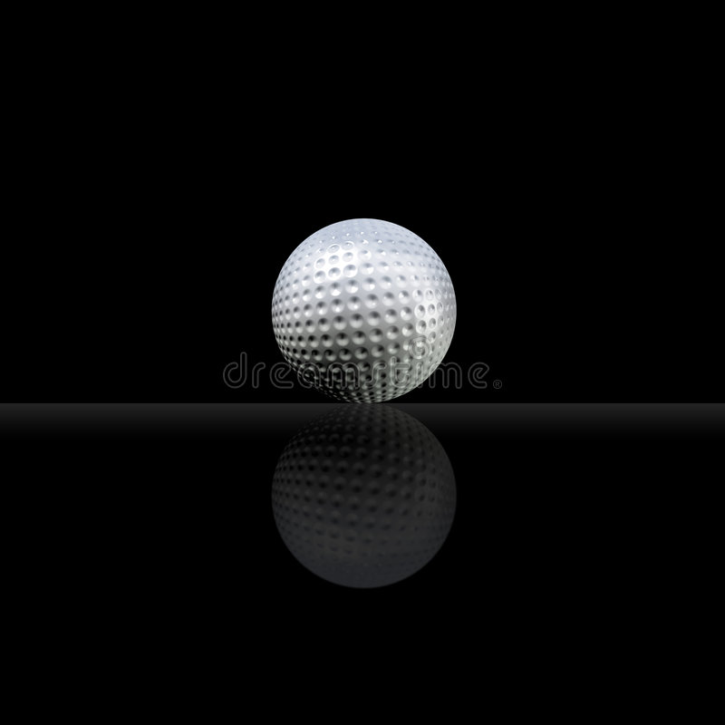 Golf ball. An illustration of a golf ball against black background vector illustration