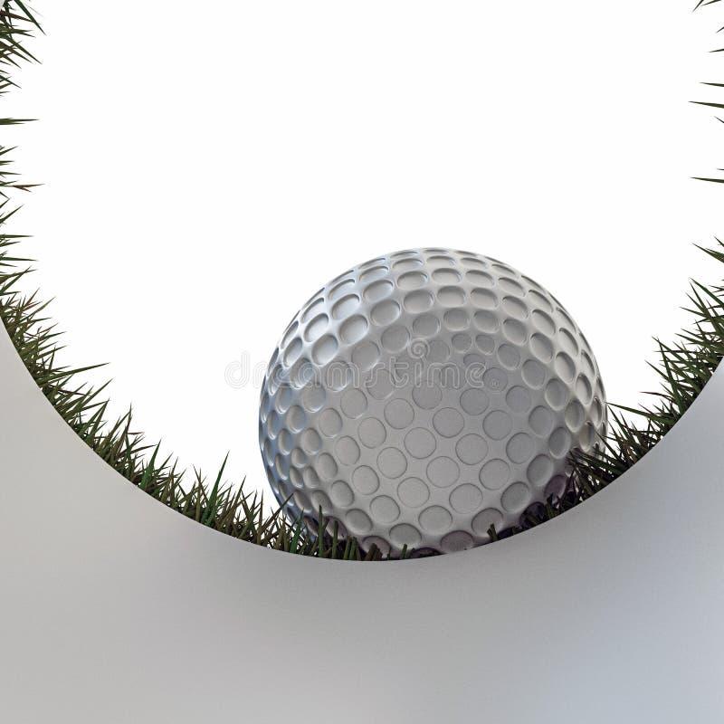 Golf ball approaching hole stock illustration