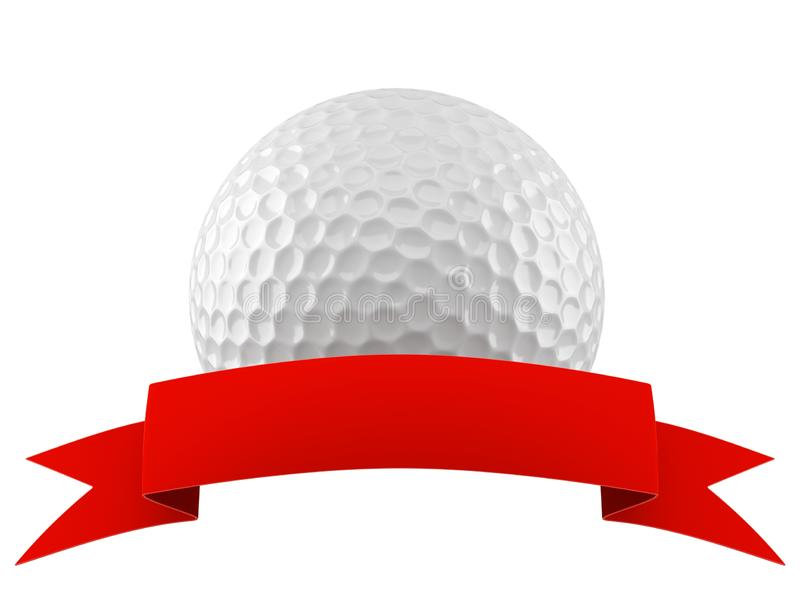Golf ball with blank ribbon vector illustration