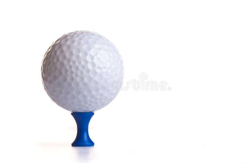 Golf Ball on Blue Tee royalty free stock image