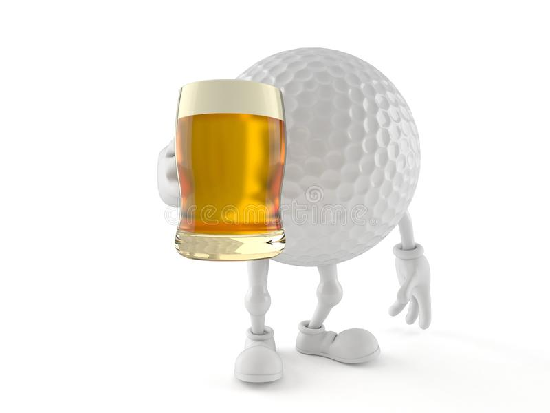 Golf ball character holding beer glass vector illustration