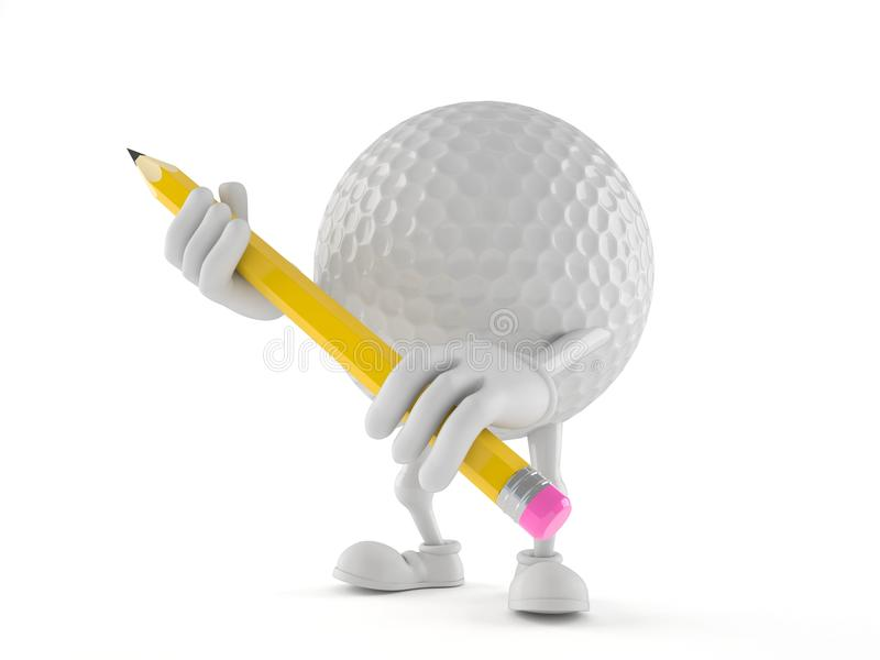 Golf ball character holding pencil royalty free illustration