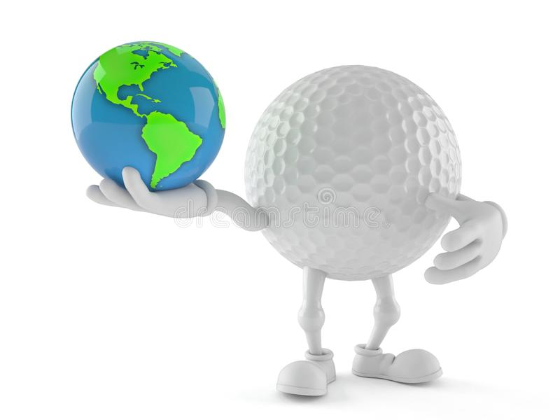 Golf ball character holding world globe royalty free illustration