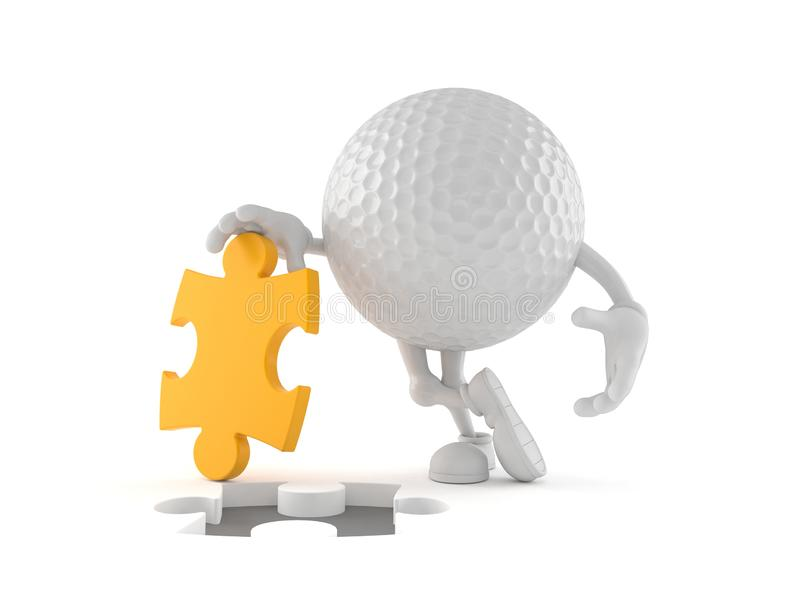 Golf ball character with jigsaw puzzle royalty free illustration