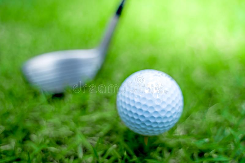 Golf ball close-up in soft focus at sunlight with Green grass. wide landscape as background ,Sport playground for golf club stock photography