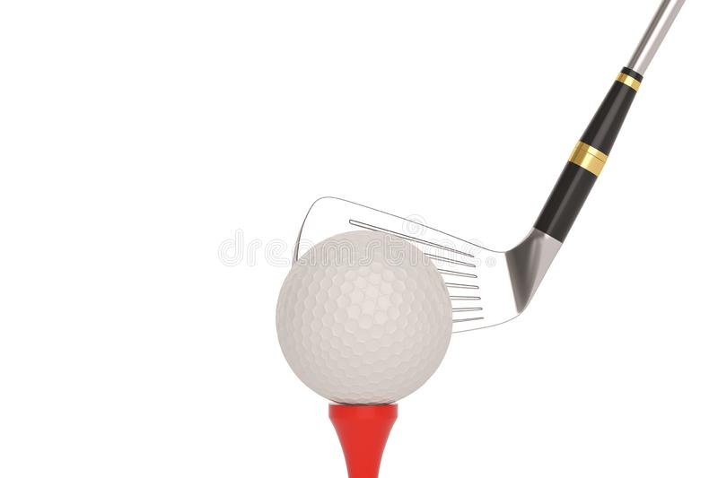 Golf ball and golf club isolatedon white background. 3D illustration. vector illustration