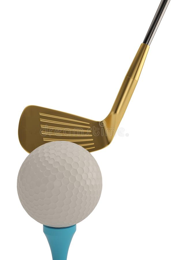 Golf ball and golf club isolatedon white background. 3D illustration. royalty free illustration