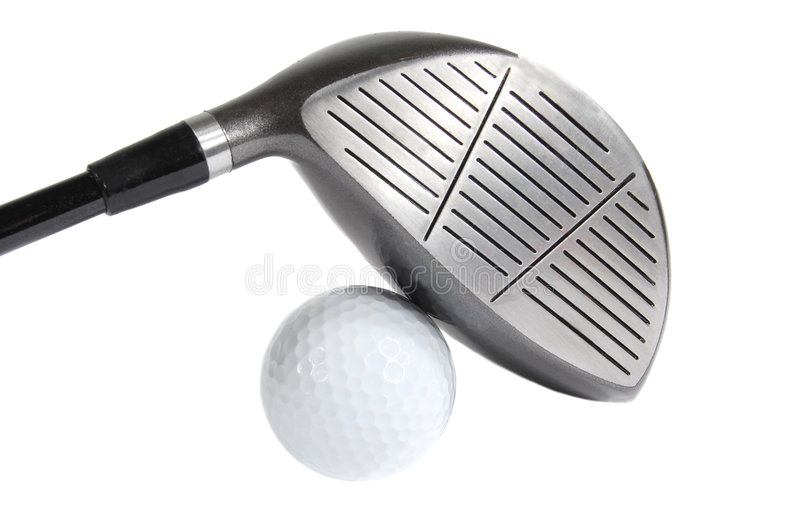 Golf ball and driver royalty free stock image