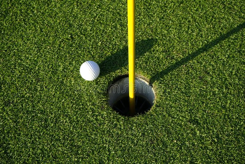 Golf ball on the edge of hole on the green grass. Golf ball on the edge of hole on putting green on golf course royalty free stock photos