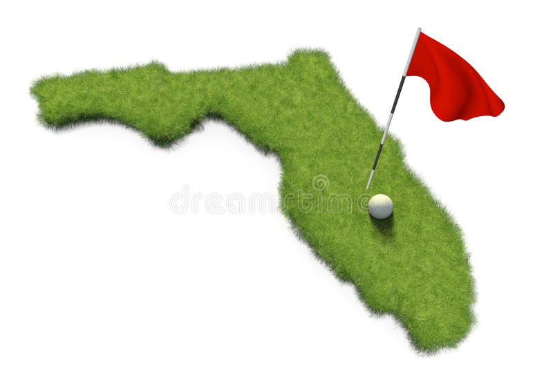 Golf ball and flag pole on course putting green shaped like the state of Florida. 3D render of a golf ball and red flag on a golf course putting green shaped stock illustration