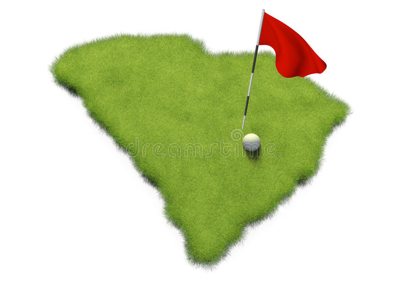 Golf ball and flag pole on course putting green shaped like the state of South Carolina royalty free illustration