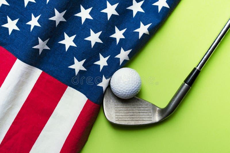 Golf ball with flag of USA stock photo